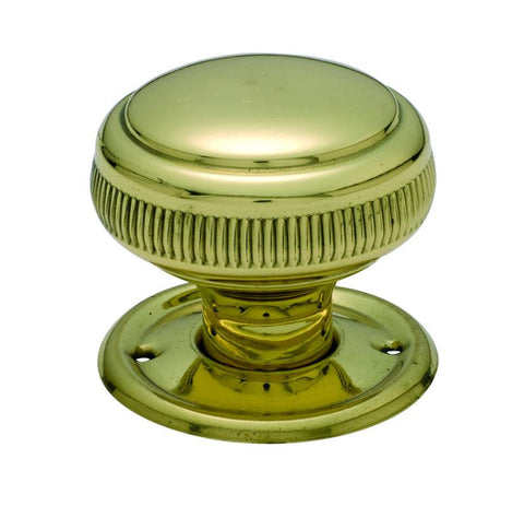 Tradco 'MORTICE KNOB' MILLED EDGE Polished Brass 52mm 1022