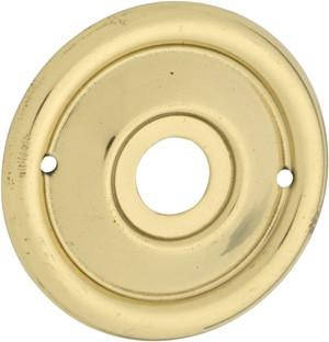 Tradco 'MILLED EDGE' MORTICE KNOB BACKPLATE (PAIR) Polished Brass 46mm 1027