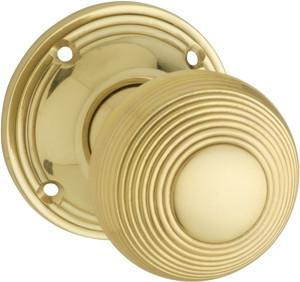 Tradco 'REEDED' MORTICE KNOB Polished Brass 51mm BP60mm 1028