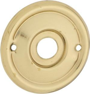Tradco 'MILLED EDGE' MORTICE KNOB BACKPLATE (PAIR) Polished Brass 52mm 1029