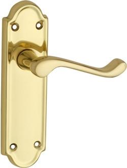 Tradco 'BEDFORD' LEVER LATCH Polished Brass 170mm x 46mm 1078