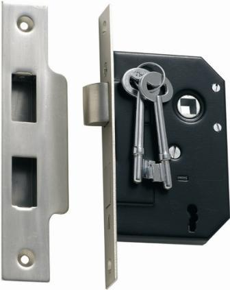 Tradco '3 LEVER MORTICE LOCK' Satin Chrome 1132 44mm