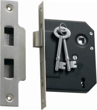 Tradco '3 LEVER MORTICE LOCK' Satin Chrome 1133 57mm