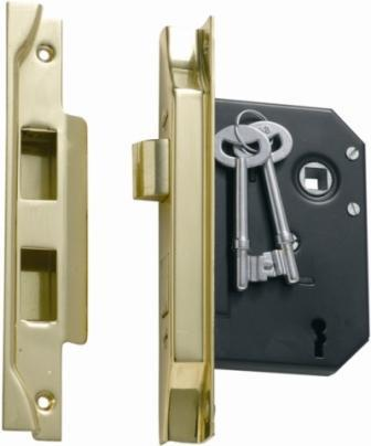 Tradco '3 LEVER REBATED LOCK' Polished Brass 1139 57mm