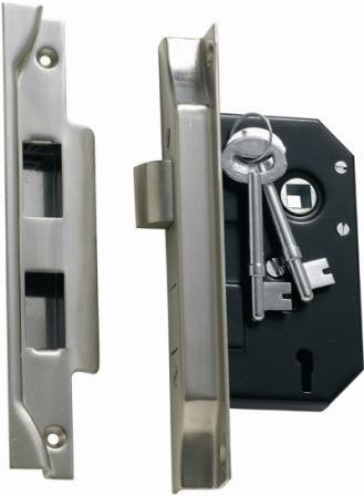 Tradco '3 LEVER REBATED LOCK' Satin Chrome 1158 44mm