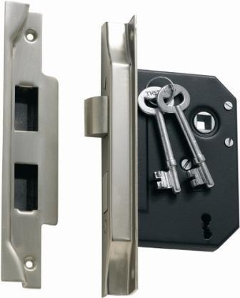 Tradco '3 LEVER REBATED LOCK' Satin Chrome 1159 57mm
