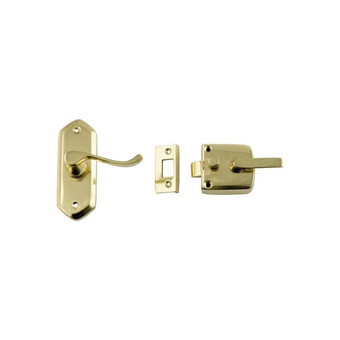 Tradco 'SCREEN DOOR LATCH' RIGHT HAND EXTERNAL LEVER Polished Brass 38 x 198mm 1193