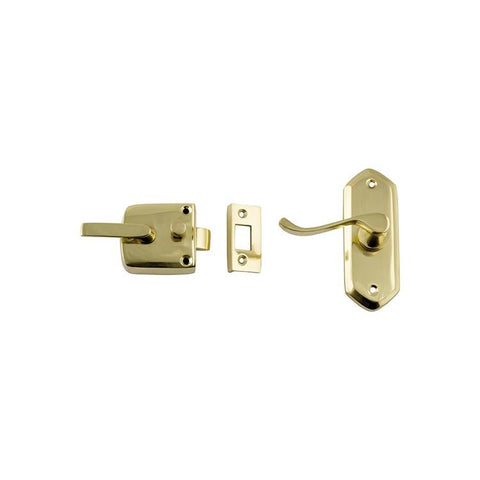 Tradco 'SCREEN DOOR LATCH' LEFT HAND EXTERNAL LEVER Polished Brass 38 x 198mm 1194