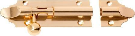 Tradco 'BARREL BOLT' Polished Brass 1401 100mm x 32mm