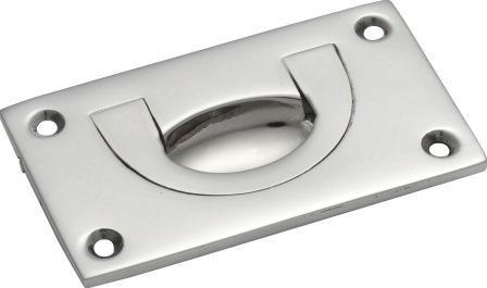 Tradco 'FLUSH PULL' Small Chrome Plate W70 x H40mm x DE6mm 1561