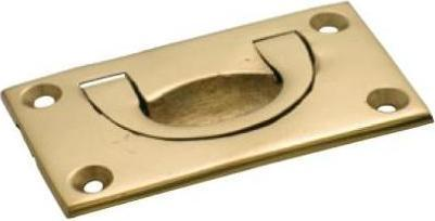 Tradco 'FLUSH PULL' Small Polished Brass W70 x H40mm x DE6mm 1570