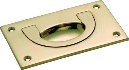Tradco 'FLUSH PULL' Small Polished Brass W90 x H55mm x DE6mm 1571