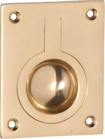 Tradco 'FLUSH RING PULL' Polished Brass 1573 50mm x 63mm