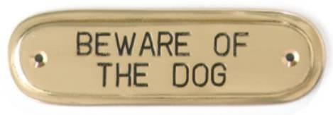 Tradco 'BEWARE DOG SIGN' Polished Brass 1592 135mm x 40mm