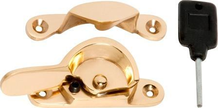 Tradco 'LOCKING FITCH FASTENER' Polished Brass 1602 69mm x 17/15mm