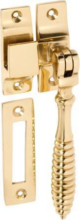 Tradco 'CASEMENT FASTENER-REEDED' Polished Brass 112mm x 30mm 1735