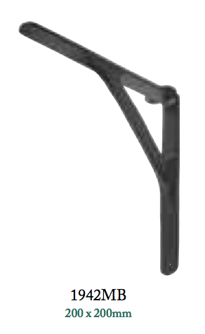 Tradco 'SHELF BRACKET' Cast Iron Matt Black 1942 200mm x 200mm