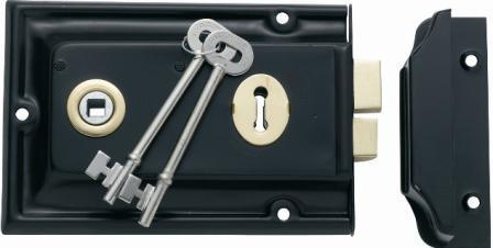 Tradco 'LOW SECURITY RIM LOCK' Matt Black/Polished Brass 155 x 105mm 2000