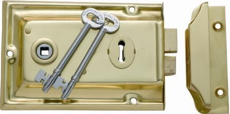 Tradco 'LOW SECURITY RIM LOCK' Polished Brass 155 x 105mm 2002