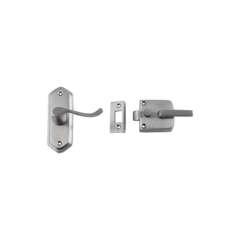 Tradco 'SCREEN DOOR LATCH' RIGHT HAND EXTERNAL LEVER Satin Chrome 38 x 198mm 2059