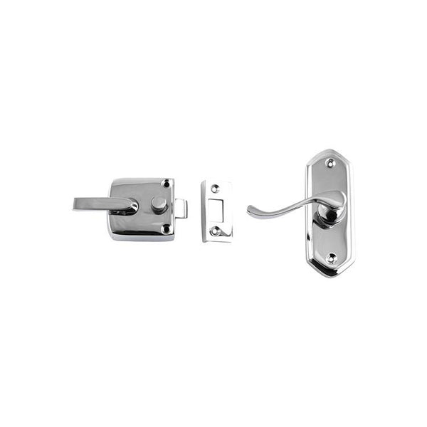 Tradco 'SCREEN DOOR LATCH' LEFT HAND EXTERNAL LEVER Chrome Plate 38 x 198mm 2064