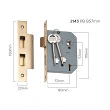 Tradco '5 LEVER MORTICE LOCK' Polished Brass 57mm and 46mm available