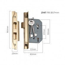 Tradco 'REBATED 5 LEVER MORTICE LOCK' Polished Brass 57mm and 46mm available