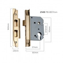Tradco 'REBATED EURO MORTICE LOCK' Polished Brass 57mm and 46mm available