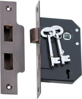 Tradco '3 LEVER MORTICE LOCK' Antique Brass 2200 44mm