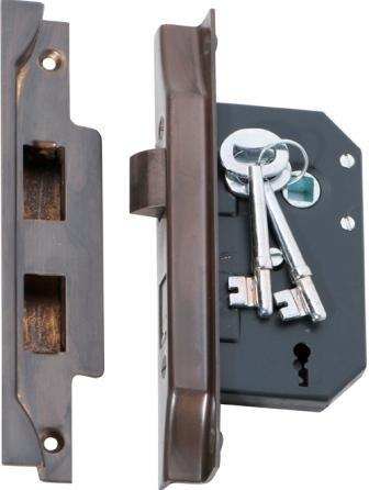 Tradco '3 LEVER REBATED LOCK' Antique Brass 2204 44mm