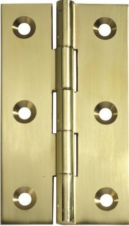 Tradco 'HINGE - FIXED PIN' Polished Brass 2470 89mm x 50mm