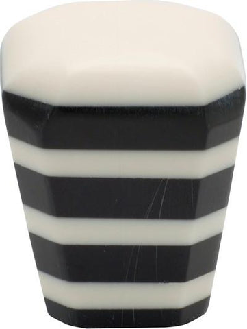 Tradco 'PLASTIC' SQUARE CUPBOARD KNOB Ivory/Black 38mm 3006