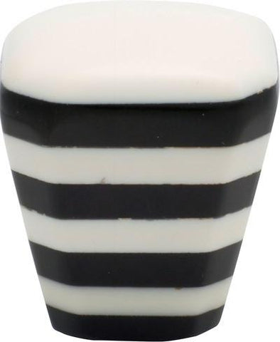 Tradco 'PLASTIC' SQUARE CUPBOARD KNOB Ivory/Black 32mm 3007