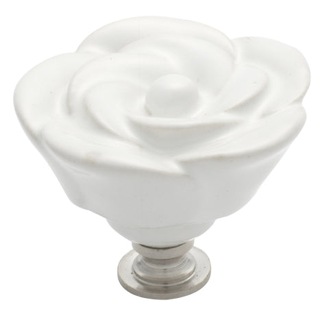 Tradco 'PORCELAIN' FLOWER CUPBOARD KNOB White and Chrome Plate 50mm 3009