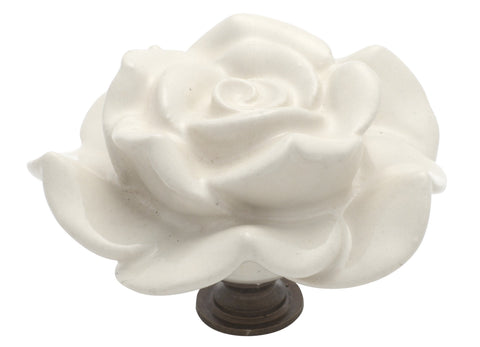 Tradco 'PORCELAIN' FLOWER CUPBOARD KNOB Ivory and Antique Brass 60mm 3010