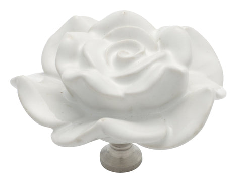 Tradco 'PORCELAIN' FLOWER CUPBOARD KNOB White and Chrome Plate 60mm 3011