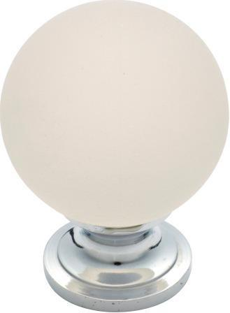 Tradco 'FROSTED GLASS' CUPBOARD KNOB Chrome Plate 38mm 3020