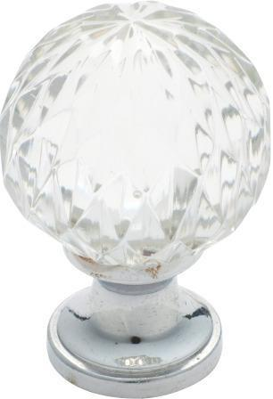 Tradco 'CUT GLASS' CUPBOARD KNOB Chrome Plate 38mm 3024