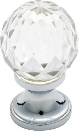 Tradco 'CUT GLASS' CUPBOARD KNOB Chrome Plate 32mm 3025