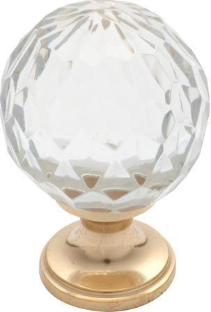 Tradco 'CUT GLASS' CUPBOARD KNOB Polished Brass 38mm 3026