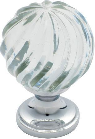 Tradco 'GLASS FLUTED SWIRL' CUPBOARD KNOB Chrome Plate 38mm 3030