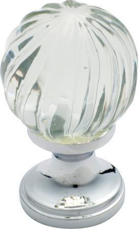 Tradco 'GLASS FLUTED SWIRL' CUPBOARD KNOB Chrome Plate 32mm 3031