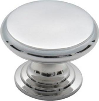Tradco 'CAST BRASS' CUPBOARD KNOB Flat Chrome Plate 25mm 3038
