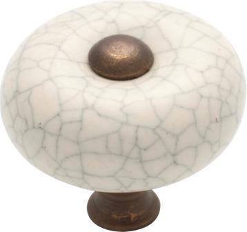 Tradco 'PORCELAIN' CRAZED CUPBOARD KNOB Ivory and Antique Brass 32mm 3042