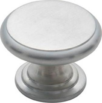 Tradco 'CAST BRASS' CUPBOARD KNOB Flat Satin Chrome 32mm 3049