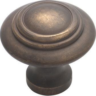 Tradco 'CAST BRASS' CUPBOARD KNOB Domed Antique Brass 32mm 3051