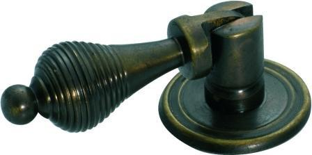 Tradco 'REEDED TEARDROP' HANDLE Antique Brass 50mm 3200