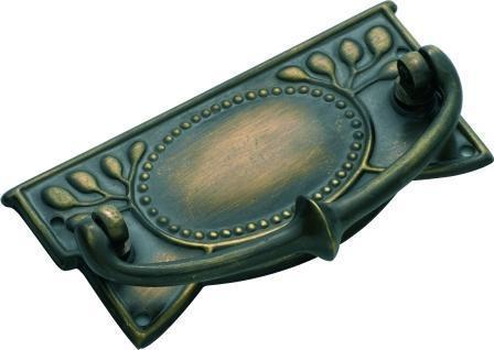 Tradco 'SHEET BRASS' CABINET HANDLE Antique Brass 100 x 48mm 3221