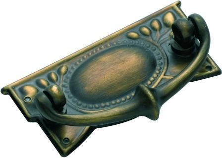 Tradco 'SHEET BRASS' CABINET HANDLE Antique Brass 65 x 30mm 3222