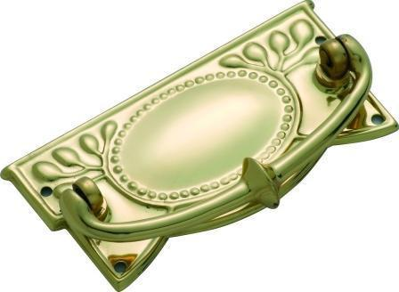 Tradco 'SHEET BRASS' CABINET HANDLE Polished Brass 100 x 48mm 3321